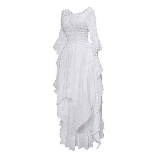 Holywin Frauen Langarm Slash Neck mittelalterlichen Kleid bodenlangen Cosplay Kleid