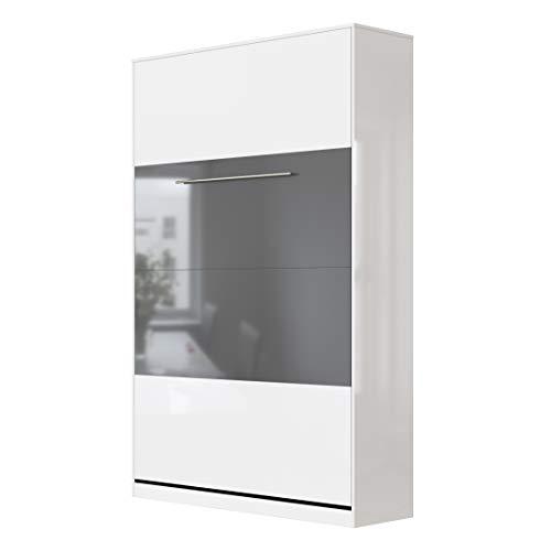 SMARTBett Standard 120x200cm Vertical Blanco Alto Brillo/Blanco Alto Brillo & Antracita Alto Brillo Cómodo | Cama Abatible, Cama De Pared, Cama Plegable, Cama Oculta