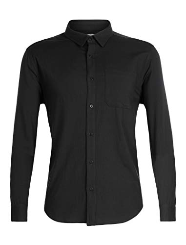 Icebreaker Herren Merino Compass Lightweight Button Down Flanell Shirt Merino Wool, Herren, Compass Flannel Long Sleeve Shirt, schwarz, Small