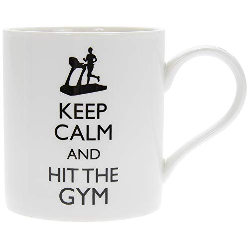 Fine China Mug Says Keep Calm and Hit The Gym 350ml. Funny Humorous Thought Lightens Your Day and Makes Everyone Smile. Perfect for Your Active Life. Great Gift Idea for Tea, Coffee
