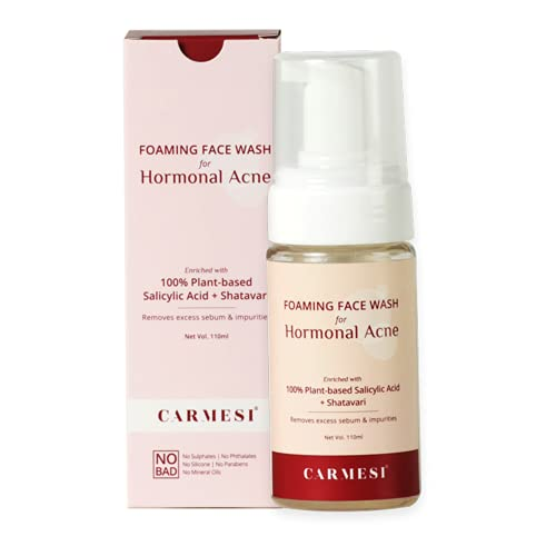 Carmesi Foaming Face Wash for Hormonal Acne – 110 ml – Natural Salicylic Acid, Niacinamide, Zemea – Removes Excess Sebum & Impurities