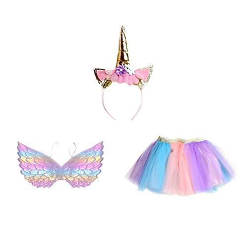FENICAL Conjunto de Traje de tutú Unicornio Traje de Falda de Unicornio Vestido de Fiesta de cumpleaños con alas de Diadema de Unicornio para niñas niños - m