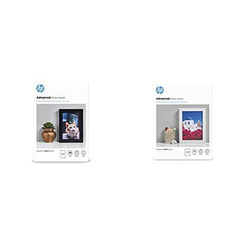 HP Carta Fotografica Lucida, Q8692A, Grammatura 250 G/M², Formato 10 X 15, Confezione Da 100 Fogli & Carta Fotografica Lucida Advanced Q8696A, Grammatura 250G/M2, Formato 13X18Cm, 25 Fogli
