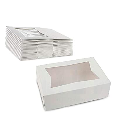 """White Pastry Bakery Box – Sturdy Kraft Paperboard Auto-Popup Box Keeps Pastries Safe, Clear Window for Visibility, Size 8"""" L x 5 3/4"""" W x 2 1/2"""" H by MT Products (15 Pieces) by MT Products"""