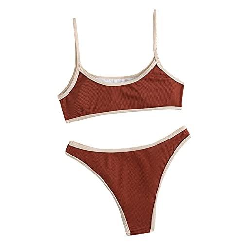 Traje de Baño de Color Sólido Verano para Mujer,Bañadores de Deporte,Bikinis Suave y Ligero de Dos Piezas,Ropa de Baño con Relleno Retirable para Mujer,Ropa de Playa Atractivo y Elegante