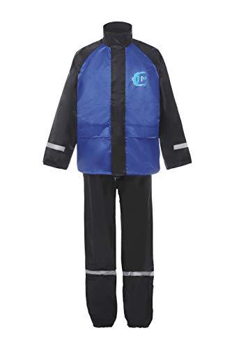 Flycam Rain Suit Waterproof Motorcycle Outdoor Reflective Raincoat Over Suit (Black/Blue, L)