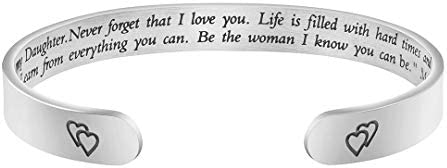 Joycuff Inspirational Bracelets for Women Personalized Gift for Her Engraved Mantra Cuff Bangle product image