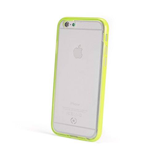 Celly Bumper Cover Fluo con Bordi Colorati per iPhone 6/6S, TPU, Giallo