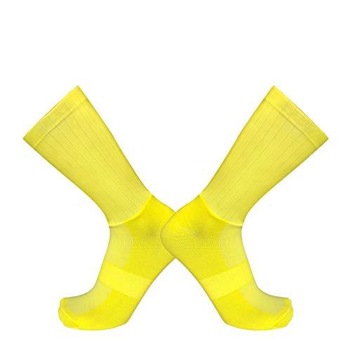 BLOMDE Calcetines Antiampollas Calcetines Deportivos Antideslizantes De Silicona Para Verano Aero White Line-Amarillo_L 40-45
