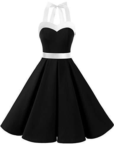 DRESSTELLS Damen Neckholder 1950er Vintage Retro Rockabilly Kleider Petticoat Faltenrock Cocktail Festliche Kleider Black White XL
