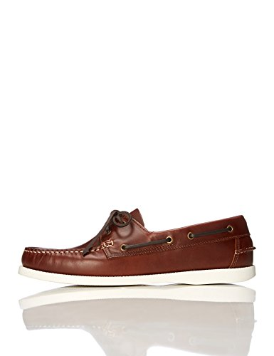 find. Amz038_leather Herren Bootsschuhe, Cognac/White, 47 EU