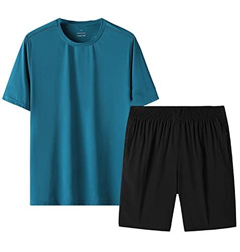GOLOFEA Camiseta y Pantalones Cortos de Manga Corta de 2 Piezas con Ropa Deportiva cómoda, para Gimnasio Ejercicio Fitness Corriendo 5XL