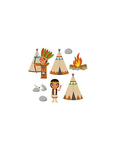 sticker garçon : frise des indiens Tipi
