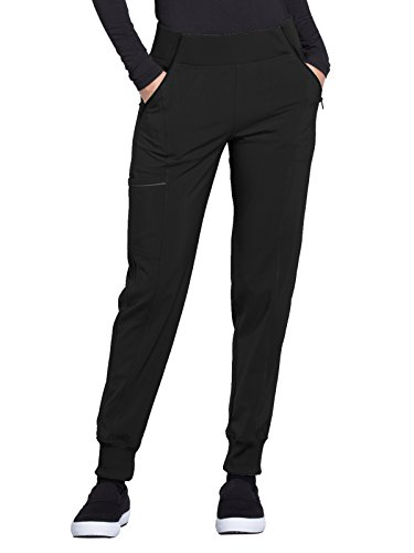 CHEROKEE Infinity CK110A Women's Mid Rise Tapered Leg Jogger Pant Black L Tall