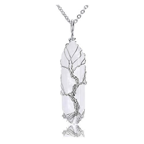 CrystalTears Natural Clear Quartz Healing Crystal Stone Necklace Silver Tree of Life Wire Wrapped Hexagonal Crystal Points Pendant Necklace for Women