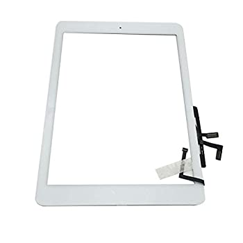 Aiiworld Digitizer Replacement Touch Screen for Ipad Air 1 1st Generation A1474 A1475 A1476 9.7  Touch Panel Parts with Home Button Camera Bracket Adhesive Pre-Installed  White