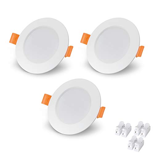 VTERLY Focos Empotrables LED, 3 Pack 6W LED Empotrable Techo Redondo, 430LM, 6000K Blanco Frío, No Regulable, AC 220-240V Downlight Redondo Extraplano, para Dormitorio Sala de Estar Cocina