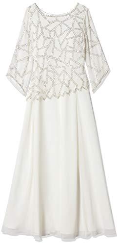 J Kara Damen 3/4 Sleeve Geo Design Long Beaded Gown Kleid für besondere Anlässe, Ivory/Silver, 46