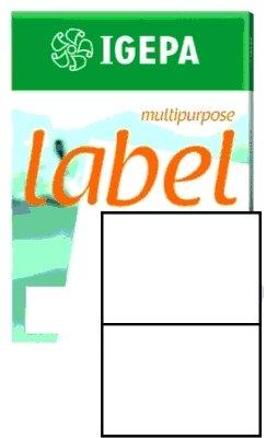 Igepa Label Multipurpose Etiketten 210 x 148 mm Papier permanent haftend für Laser- und Injektdrucker sowie Kopierer 100 Blatt A4 / 200 Etiketten