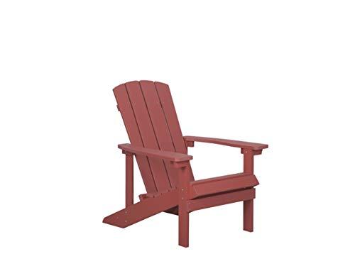 Beliani Moderner Muskoka Gartenstuhl in Rot mit Breiten Armlehnen Adirondack