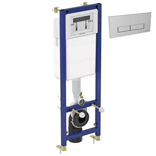 Badrum väggmonterad WC-ram + dold cistern + idealisk standard WC-ram 3/6L dold toalett vägghängande krompläterad