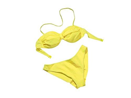 Esmara Damen Bandeau Bikni Strandbikini Triangel Bikini Bikinioberteil Bikiniunterteil (M 40/42, Gelb)
