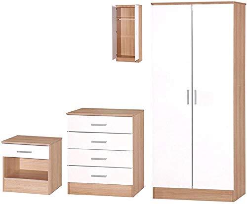 Hochglanz 3 Stücke DREI-Spiel-Schlafzimmer-Möbel-Kleiderschrank, Kommode, Bett,Brown White
