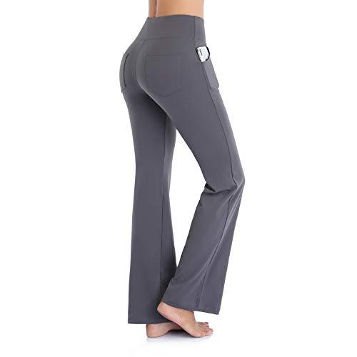 Ollrynns Pantalones de Yoga Mujer Bootcut Pierna Ancha Salón Pantalón de Piltes Cintura Alta Deportivos Leggins con Bolsillos para Yoga Fitness Gym N151 (Gris, M)