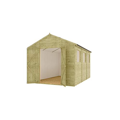 12 x 8 Pressure Treated Modular Hobbyist Apex Central Double Door Windowed Shed with OSB Floor and OSB Roof 3.65m x 2.43m