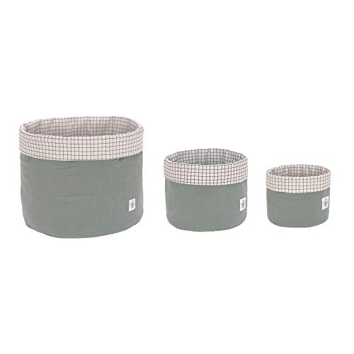 LÄSSIG Aufbewahrungskorb-Set 3 Stk. aus Muslin Bio-Baumwolle/Storage Basket Set 3 pcs Muslin, mint