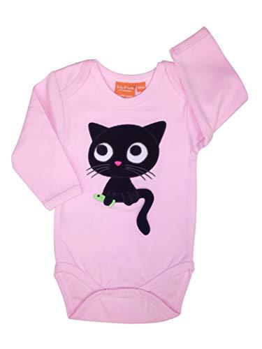 Lipfish Body à Manches Longues avec des Animaux appliqués, Dessin Suédois, 100% Coton Light Pink Kitten, 1-3 Mois.