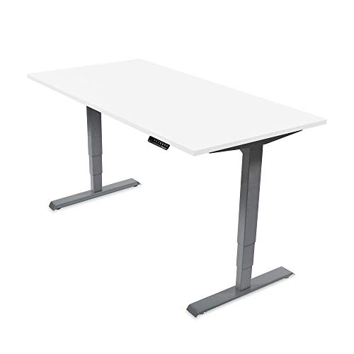 Ergotopia Elektrisch höhenverstellbarer Schreibtisch 5 Jahre Garantie | Ergonomischer Steh-Sitz Tisch mit Memory Funktion | Beugt Rückenschmerzen vor & Macht produktiver (160 x 80 cm, Weiß)