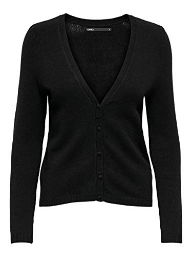 Only ONLLESLY V-Neck Button L/S Car Knt Noos Cardigan, Nero, XS Donna