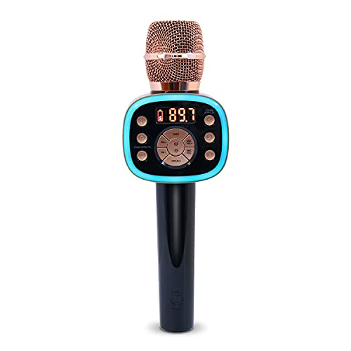 Carpool Karaoke The Mic 2.0 2021 Version, Wireless Bluetooth Karaoke Microphone with Voice Changing Effects and Duet Options, Rose Gold