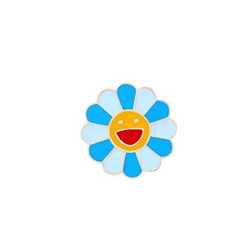 WEHONG Moda Arco¨ªris Flor Alfileres Esmaltados Girasol Sonriente Lindos Broches Bolsa Mochila Ropa Pin Insignias Regalos???Azul Cielo Azul