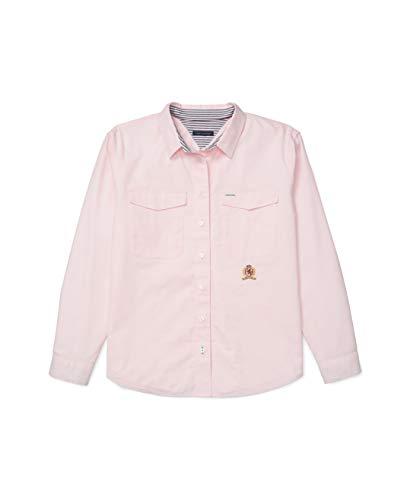 Tommy Hilfiger Damen ADP W ICON Shirt Button Down Hemd, rosa/weiß, X-Klein