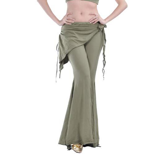 Damen Bauchtanz Hosen Breites Bein Schlaghosen Elegante Orientalischen Arabischen Tribal Fusion Dance Performance Festlich Wrap Taille Hüfte Hosen Kleidung (Color : Tee, Size : Size)