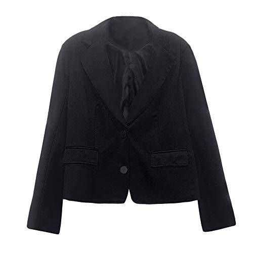 Damen Blazer Zweireiher Anzug Elegante Jacke Retro Pumps Sakko Slim Fit Langarm Coat Kurz Bolero Jacket Strickjacke Schulterjacke Cardigan Trenchcoat Offene für Büro und Freizeit