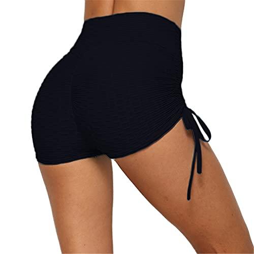 SotRong - Pantalones de yoga para mujer, cintura alta, con fruncido, para gimnasio, control de barriga, levantamiento de glúteos, Primavera-Verano, Mujer, color Z-azul marino., tamaño 42-45