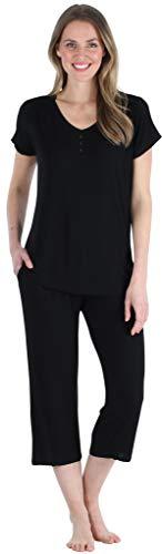 Pajama Heaven Women's Bamboo Jersey Pajama Sleepwear, Robe, Capri Set, Black (PHBJ1730-1011-MED)