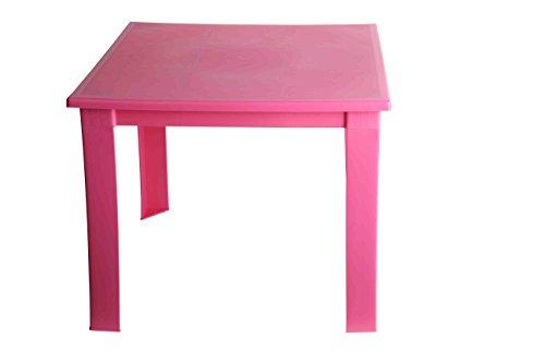 Fiore - Mesa plegable de plástico, para niños, para interiores y exteriores, mesa de café, mesa de pícnic portátil. rosa rosa