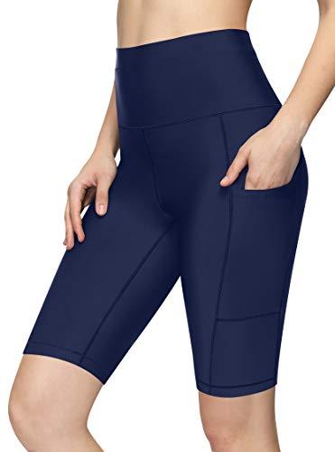 Luodemiss Damen Badeshorts mit Taschen Lange Boardshorts Hohe Taille Bauchkontrolle Badeshorts mit Panty - Grau - X-Large