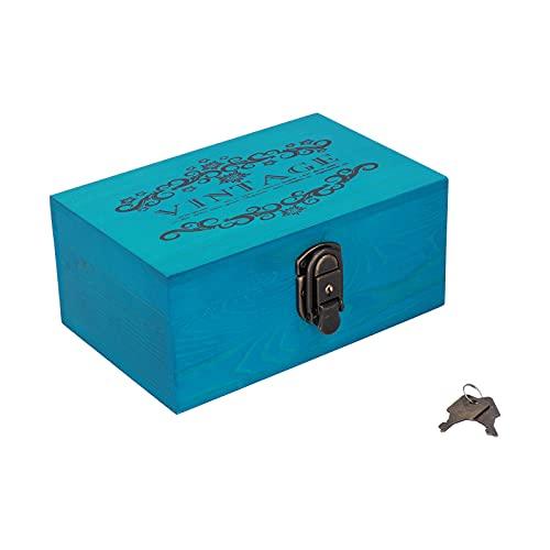 Cajas de madera, caja organizadora de almacenamiento decorativa de escritorio antigua con cerradura de tapas y llaves para joyería, collar para letras de fotos