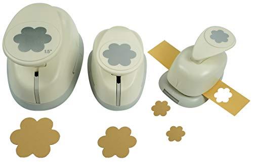 Motivstanzer Set A68183 Blume, 3 STK, Kunststoff, weiß, 1,6cm, 2,54cm, 1x 3,81cm