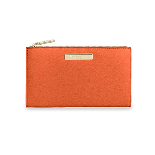 Katie Loxton Alise Womens Vegan Leather Zipper Fold-out Purse Wallet - Orange - 4.25 x 7.5 x 0.5