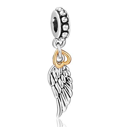 Ala de ángel de la guarda de plata con abalorio de corazón compatible con pulseras Pandora y similares