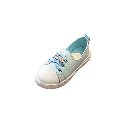 Hanone Primavera Casual Bebé Niñas con Cordones Zapatos Escotados Antideslizantes Resistente al Desgaste Azul 26