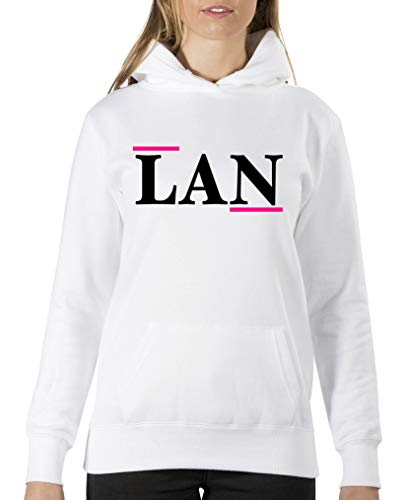 Comedy Shirts - Lan - Sweat à capuche - Femme - Capuche - Poche kangourou - Manches longues - Princesse - Blanc - XL