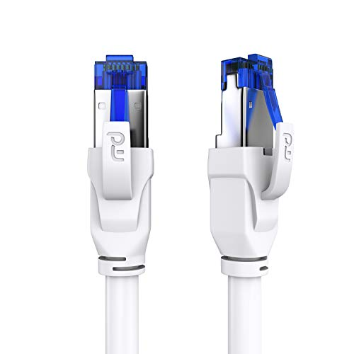 CSL - 20m CAT.8 Netzwerkkabel 40 Gbits - LAN Kabel Patchkabel Datenkabel - CAT 8 High Speed Gigabit Ethernet Cable - 40000 Mbits Glasfaser Geschwindigkeit - S/FTP PIMF Schirmung RJ45 Stecker