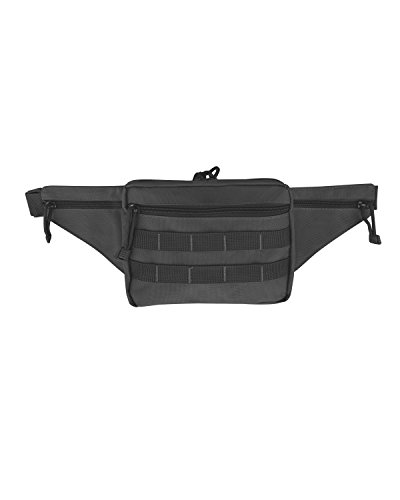 Roma Leathers Tactical Waist Pack with Velcro Holster - Nylon Construction, Adjustable Belt and MOLLE Webbing - Black